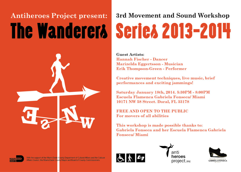 Promotional flyer for The Wanderers Series: 3rd Movement and Sound Workshop. It includes general information about the event.
