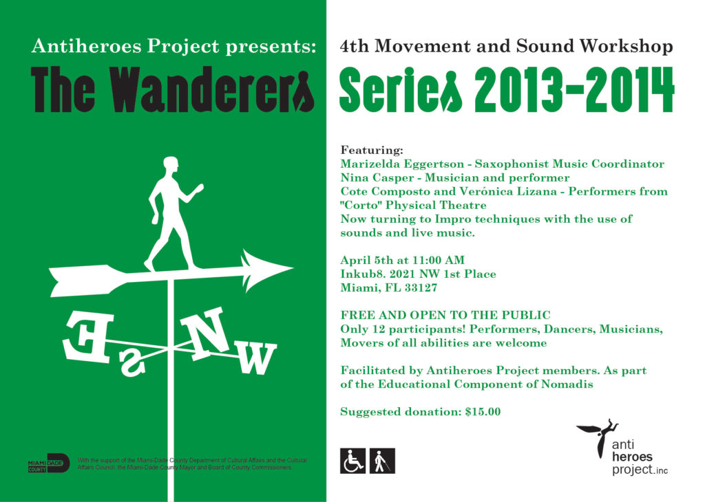 Promotional flyer for The Wanderers Series: 4rd Movement and Sound Workshop. It includes general information about the event.