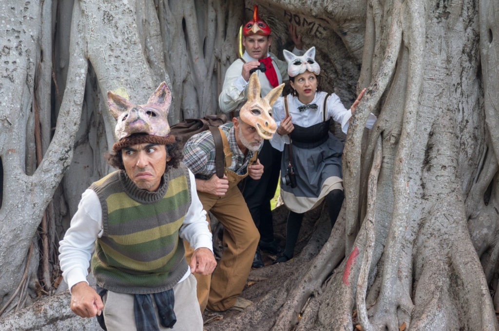 Actors dressed up as animal characters during an outdoors  performance