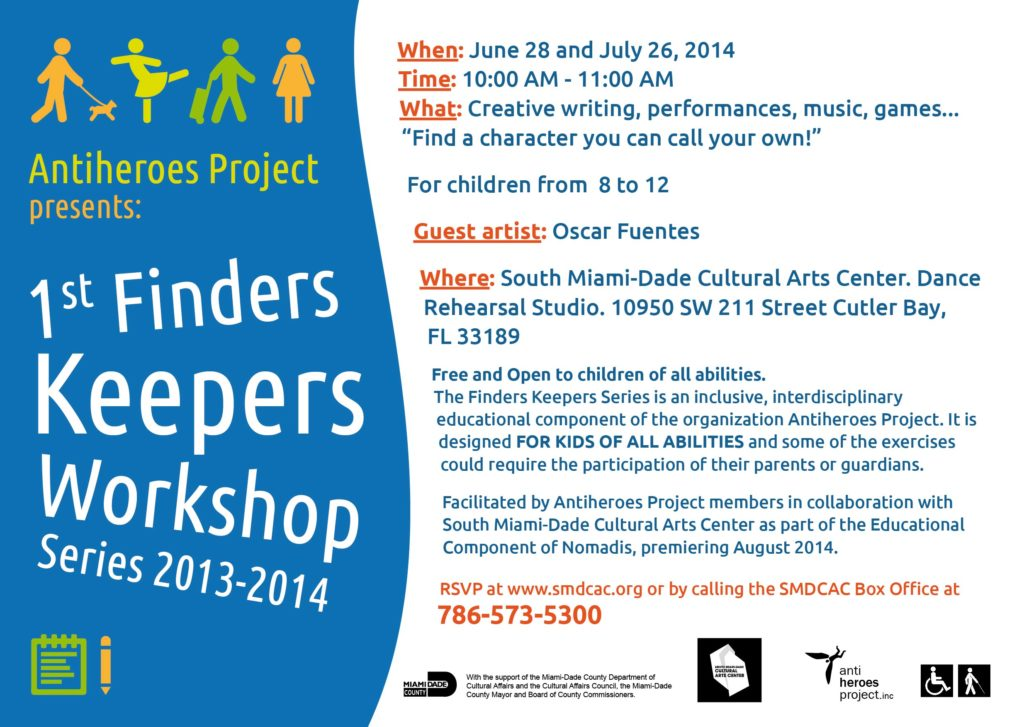 Promotional flyer for The 1st Finders keepers Workshop. It includes general information about the event.